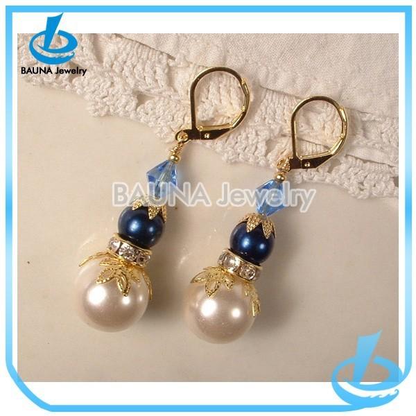 Popular gold alloy pearl bead earrings saudi gold jewelry