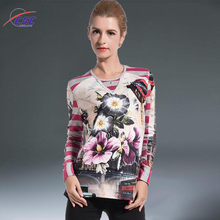 Sublimation flower printing Ladies long sleeve tops