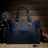 western style best leather man briefcase bag