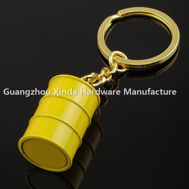 whole New Product Metal Barrel Shape Cans Oil Drum Pendant Business Gifts Keyring