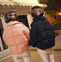 Winter New Europe solid color ladies jackets bat sleeves down jacket short cotton padded women jackets