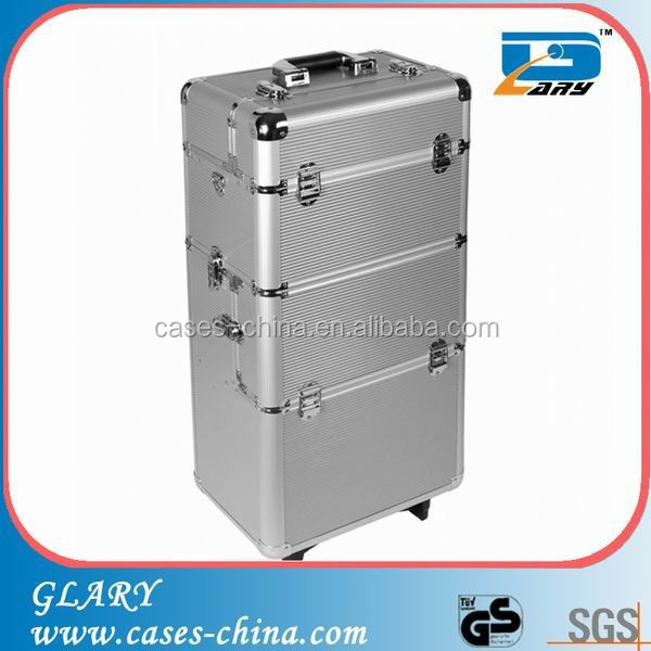 Silver rolling aluminum tool makeup beauty trolley case