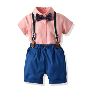 2019 summer baby boy clothes cotton boutique suspender trousers clothes sets infant clothing set