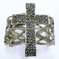 Indian diamond modern gold design cross beads for bracelets