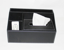 home hotel Leather storage box/remote control holder/pen holder with tissue holder