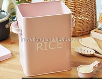 Household Rice Container/Powder Coat Pink Cute Metal Cat/Dog/Bird/Pet Food Storage Box