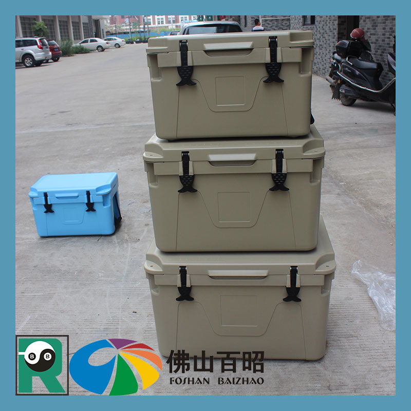 80L Rotomolding PE commercial ice bin cooler mini electric plastic camping fishing cooler box with wheel