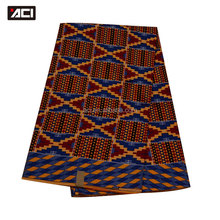 ACI-Item No.17090203 New Arrival Wax Print Fabric African Ghana Kente Cloth For Wedding Dress