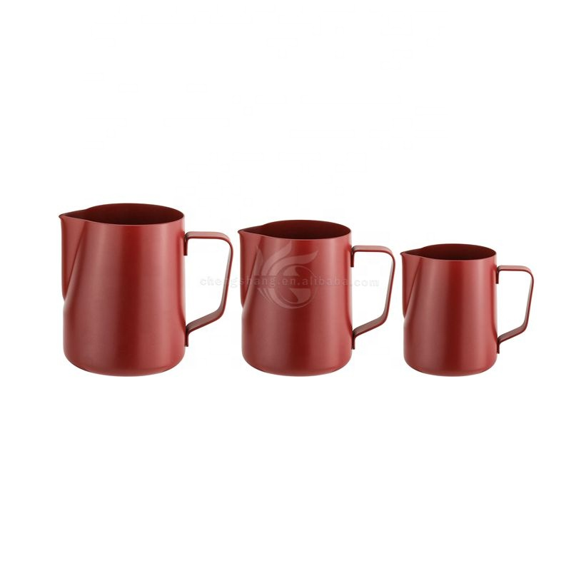 Red Spray Paint High Quality 100-1000ml Stainless Steel Milk Jug Frothing Cup Metal Coffee Espresso Steaming Milk Pitcher