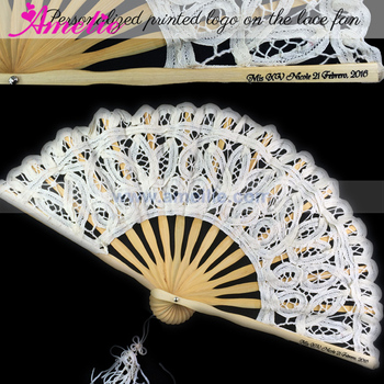 Personalized Print Logo Lace Fan Gifts Christian Wedding Gifts for Guests