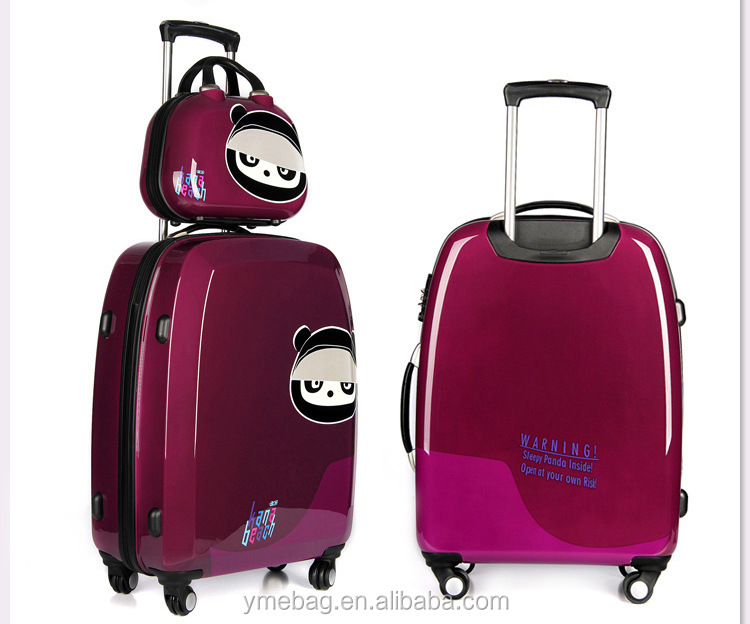 Bear Printing PP Plastic Hard Case Three Colors Available Travel Trolley Luggage Suitcase for Promotion