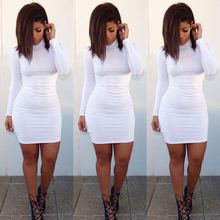 F20440A European style new fashion ladies dress pure color high neck long sleeve bodycon slim comfortable dress for women