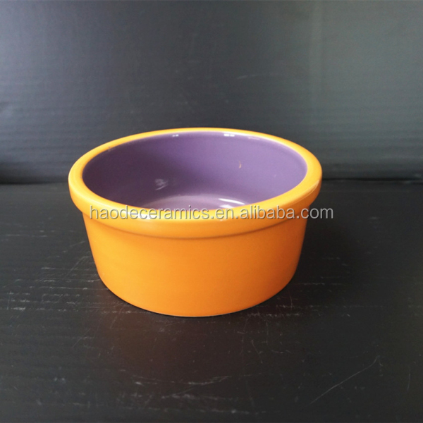 [ZIBO HAODE CERAMIC]orange and purple manufacturer supply cat dog big ceramic pet bowl