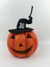 Terracotta LED pumpkin with fabric witch hat, color changing light,