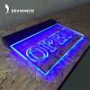 Custom design blue light effect 8.5 x 11 acrylic sign holder