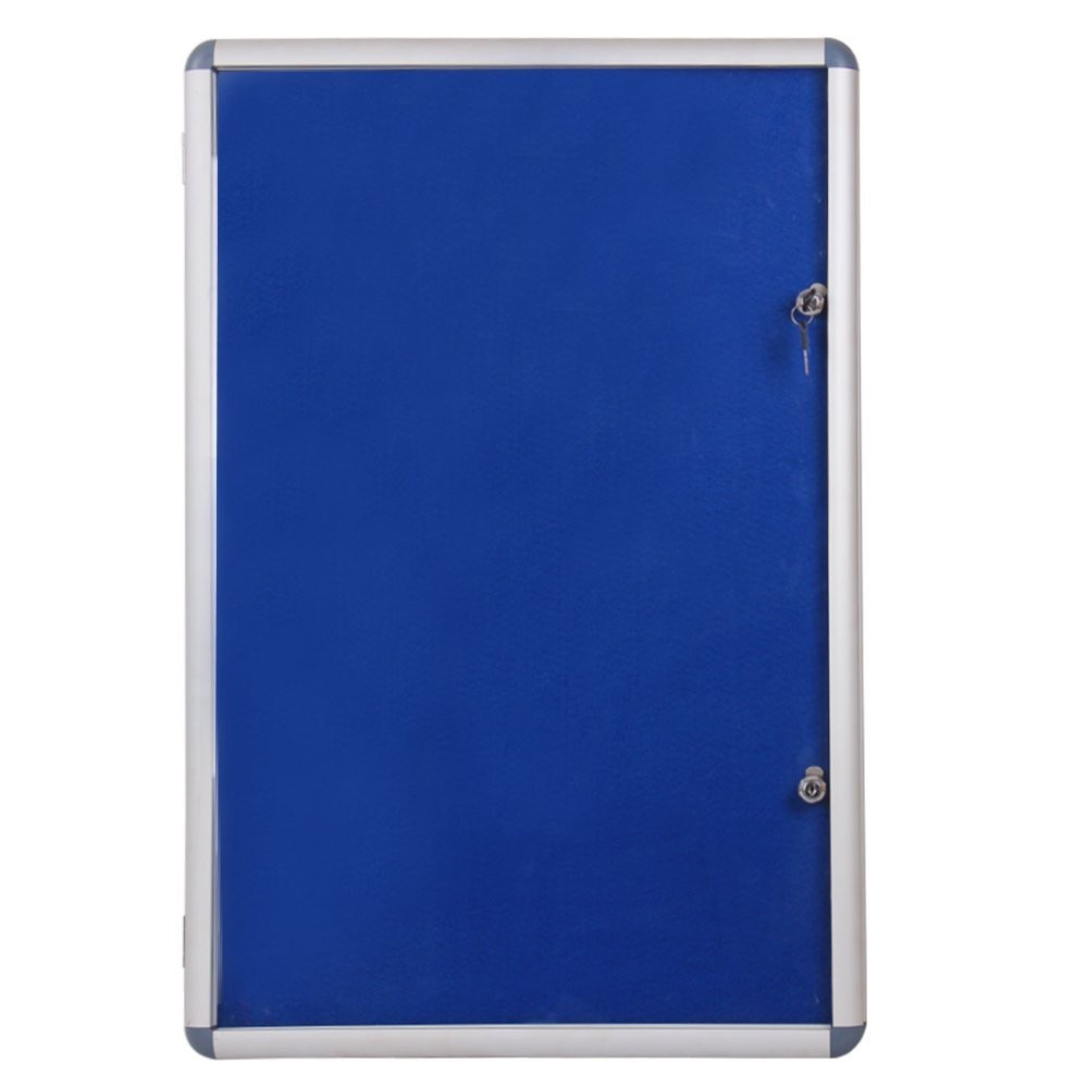 Aluminum Frame Wall Mounted Case Cabinet Lockable niticeboard Round Corner Display Cases With Acrylic