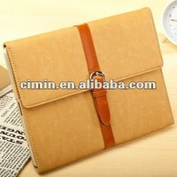 Fashion 5 colors Elegant Blet Style leather case cover for ipad