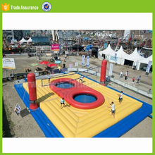 inflatable volleyball court with trampoline for adults