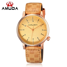 Minimalist Leather Strap Watch Men Amuda Brand Casual Imitation Wooden Wrist Watches Simple Style Rose Gold Sport Quartz-watch