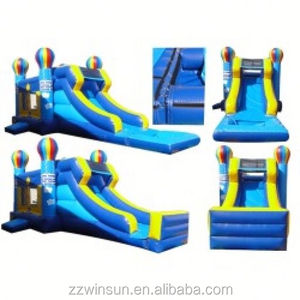 Inflatable Blue Balloon Bouncer and Long Slide Combo