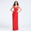 Exquisite red lace and chiffon beaded big size women A-line dress evening dresses long best lady wedding gown
