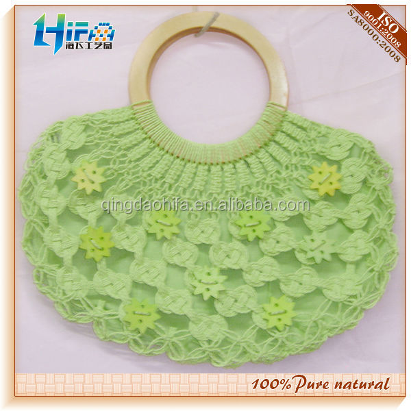 Round handle crochet paper straw tote bag for women