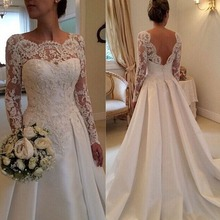 Lace Long Sleeves Beach Wedding Dresses Beading Satin Open Back Court Train Bridal Gowns