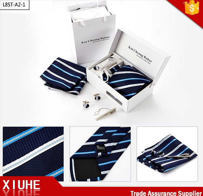 silk tie and pocket square and cufflinks gift set