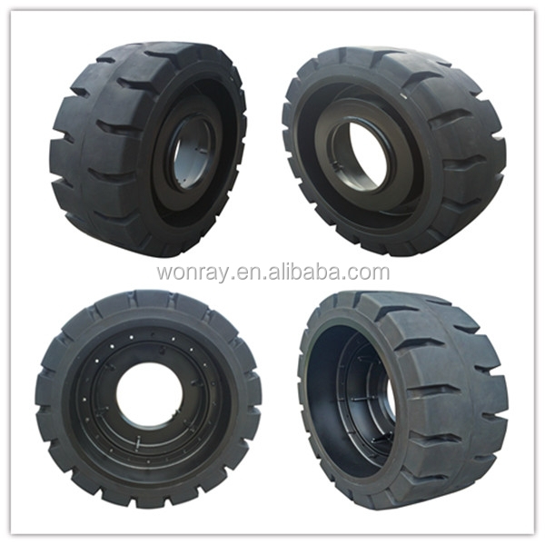 World top tyre supplier yantai wonray heavy duty solid rubber wheels 18.00-25, Construction tires for Sany Industry