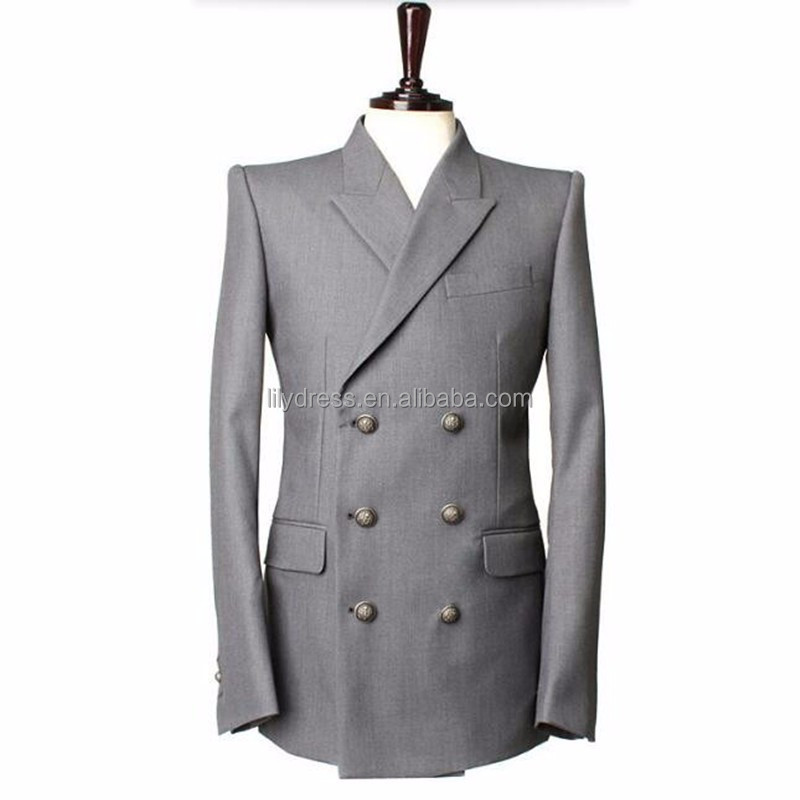 Gray men suits jacket double breasted groom wedding tuxedos jacket custom made formal business suits jacket Male Suit