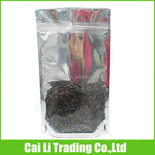 tea packaging zip on top clear side silver mylar bags