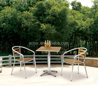 Outdoor sets aluminum plasitc wood table and chair