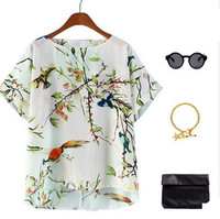 D82257H 2014 EUROPE WOMEN'S SUMMER HOT SALE SEXY PRINTED CHIFFON BLOUSES