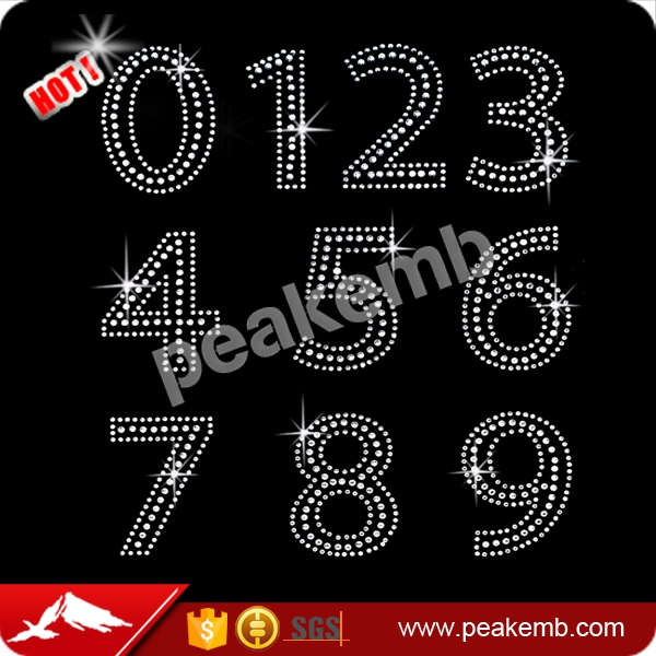 Bling Crystal AB Rhinestone Numbers 0 to 9 Rhinestone Iron on Transfer Designs for Clothing