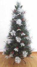 Unique artificial snowing christmas tree pre twig berries branch decorated
