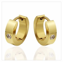 4mm Gold Plated Stainless Steel Crystal Huggie Earrings for Men women EKE030