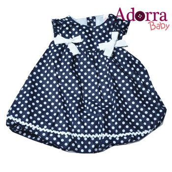 NEW cute baby girls navy Blue dresses with small white dots 12 - 24 months