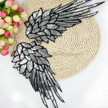 whoelsale fashion angel wing design custom sequin appliques for clothing