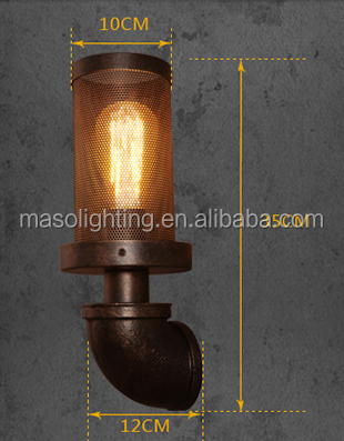 Loft balcony lights vintage wall lamp personalized coffee water pipe lamp bar industrial decorative Edison bulb mesh wall light