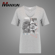Manxun Clothing Factory Custom Longline T Shirt Printing Short Sleeve V Neck Women T Shirt Dress