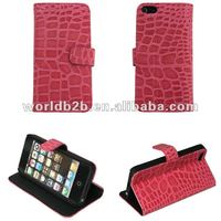 Crocodile Genuine Leather Wallet Case for iPhone 5