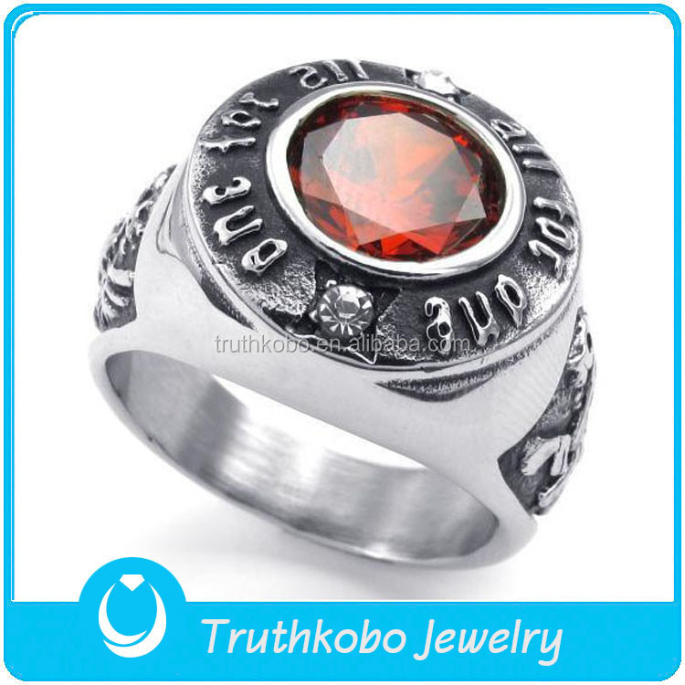 TKB-R0061 The Fashion Stainless Steel Zircon Imitate Ruby Casting 316L High-Quality Rings