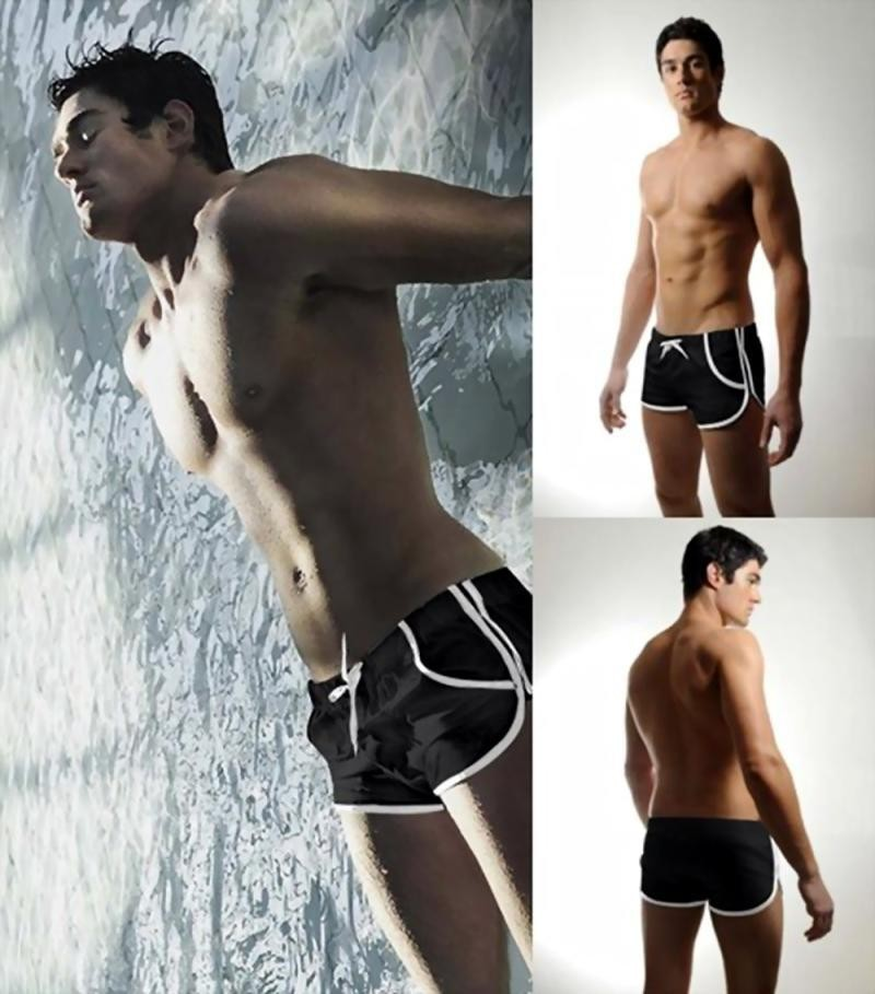 New Fashion swimming Trunks Men's Boxers Swimwear Black Q08