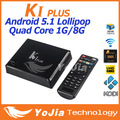 K1 Plus Amlogic S905 TV Box Quad core A53 Most Powerful Performance 64bits GPU Android5.1 TV Box Factory price