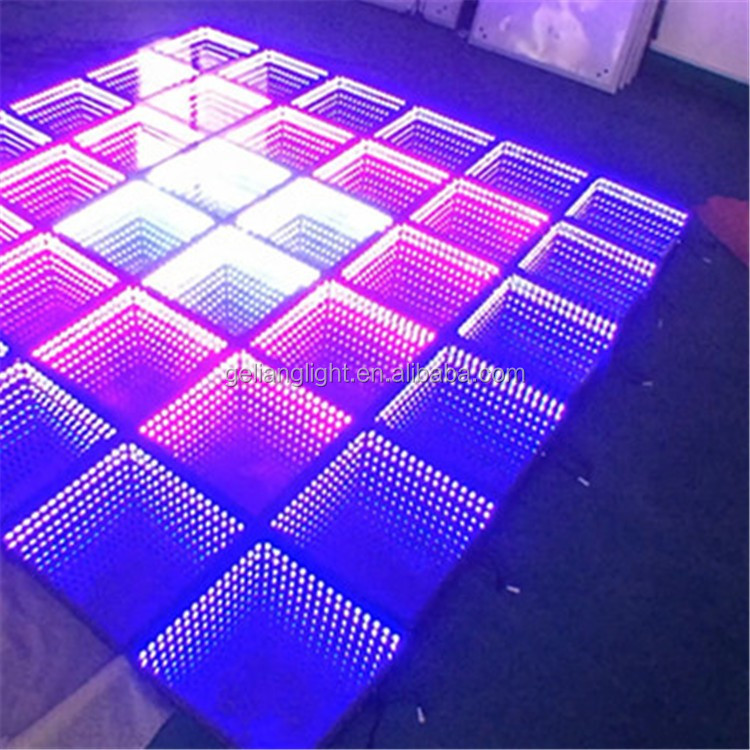 Wedding decorations light up video interactive starlit used 3D mirror dj led portable dance floor for sale