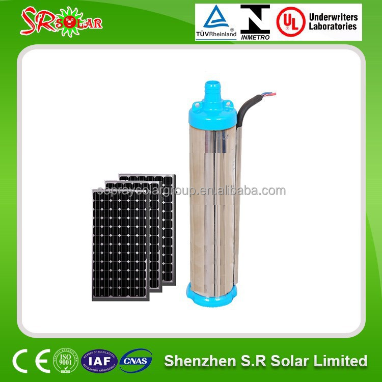 High head and flow rate DC Solar PV Submersible water Pump 24v