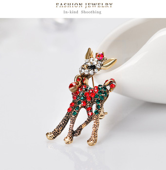 Fashion Colorful Silver&Gold Plated Christmas Antique Animal Brooch Pin Crystal Rhinestone Deer Brooch