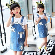 Girl cowboy skirt children chiffon dress five-pointed fashion denim skirt picture of children casual dress children fancy dress