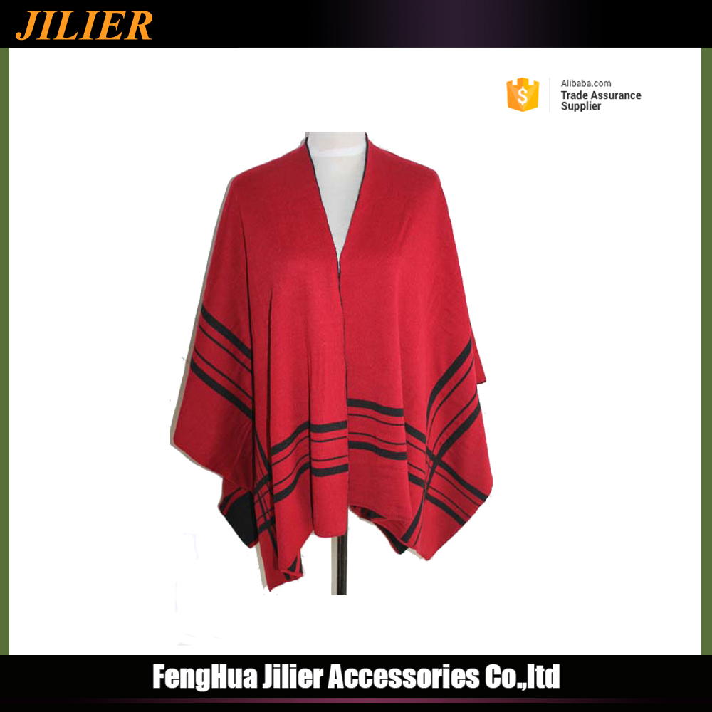 New High Quality Fashion Lady Hot Sale Thick Poncho Red Knitting Scarf Shawl