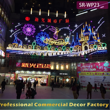 Customize shopping mall outdoor LED Christmas angel and castle light decoration